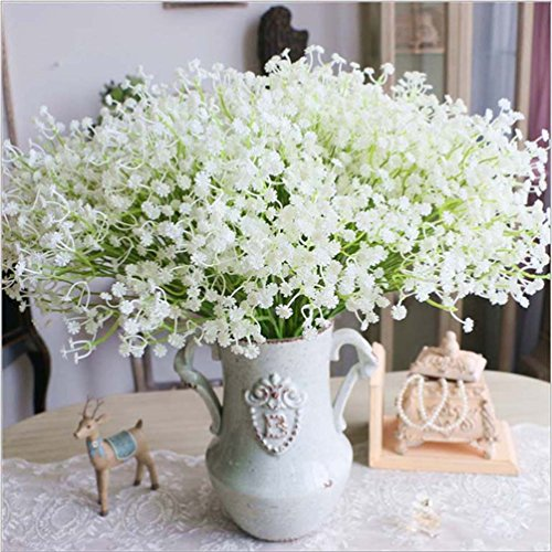 (JinHot Fashion 10 Pcs White Gypsophila Artificial Fake Beautiful Flower Home Party Wedding Decor Flowers (White))