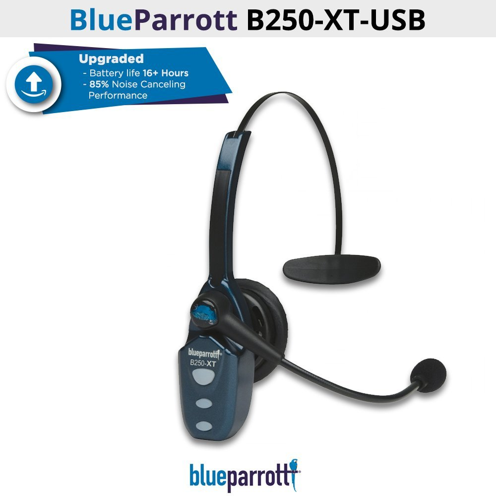 VXi BlueParrott 204123 B250-XT-USB 89% Noise Canceling Bluetooth Headset (Renewed) by BlueParrott