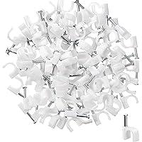 TAIANJI 400 clips de cable para uñas de 10 mm, color blanco, pinzas de gestión de cables, soporte para cables para…