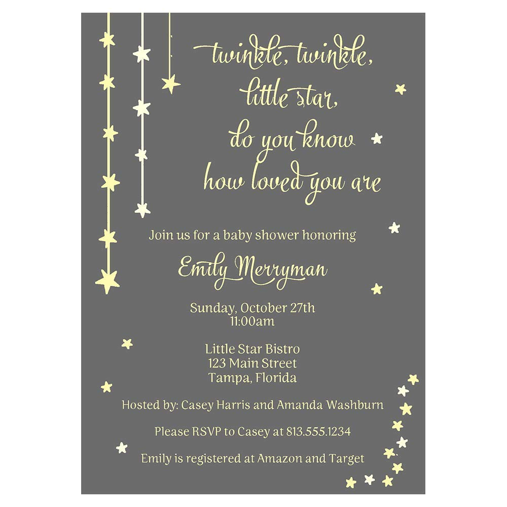 Twinkle Little Star Baby Shower Invitations Gender Neutral Invites Over The Moon Wish Upon Do You Know How Loved You Are Falling Stars Bright Night Gray Grey Yellow Unisex Customized Printed 10 Count