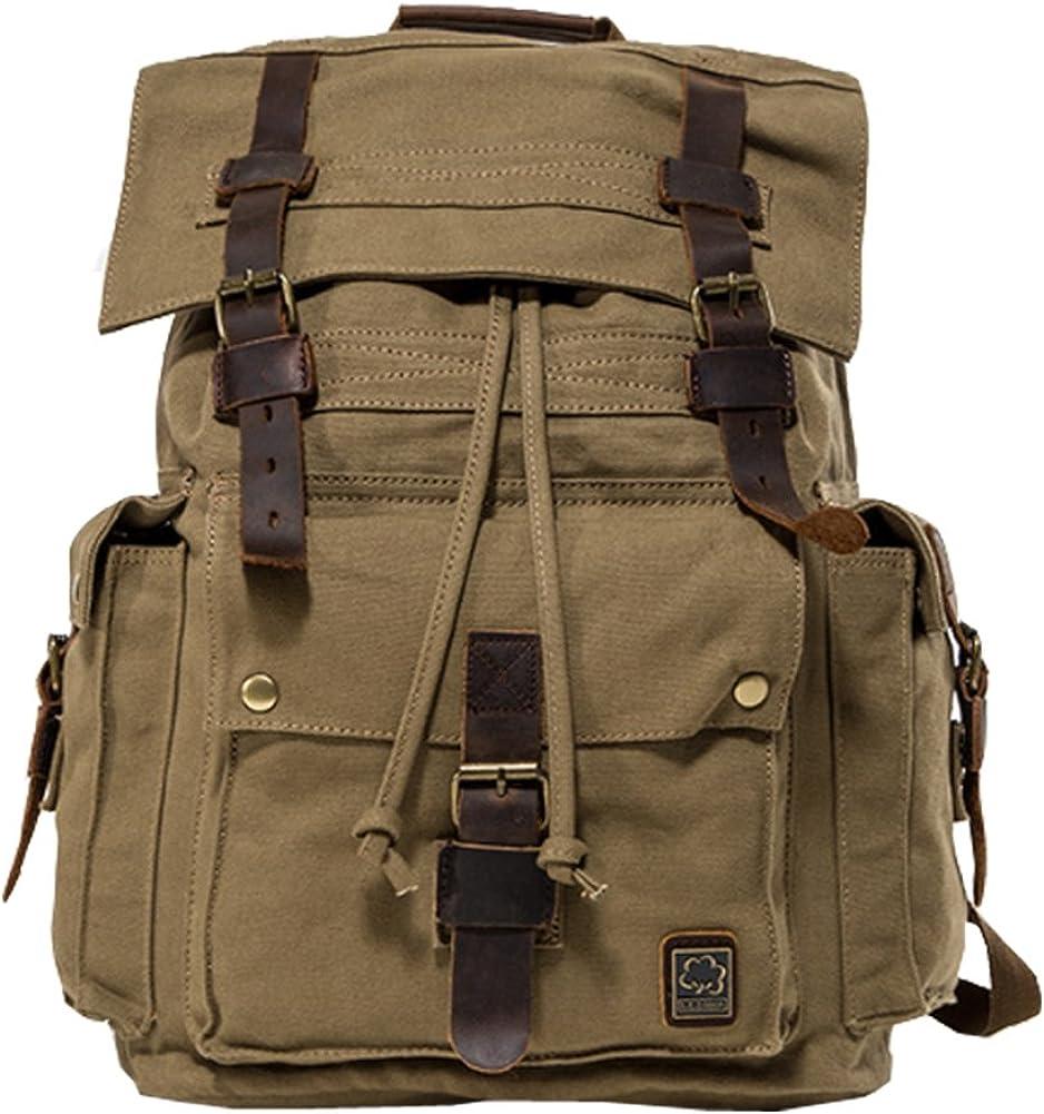 Jonon Vintage Canvas Backpack for Men Leather Rucksack Knapsack 17 inch Laptop Tote