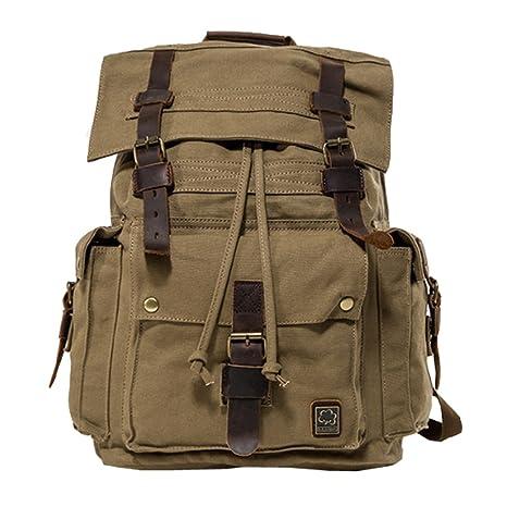 Jonon Vintage lona mochila para hombres mochila de cuero mochila 17 pulgadas portátil cartera mochila escolar