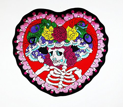 Angel Of Death Costume Diy (XXL BIG Red Rose Sugar Skull Ghost Day of Death Love Never Die Lady biker club Patch Biker jacket vest large Embroidered Iron on Hat Hoodie Backpack Ideal for Birthday Gift)