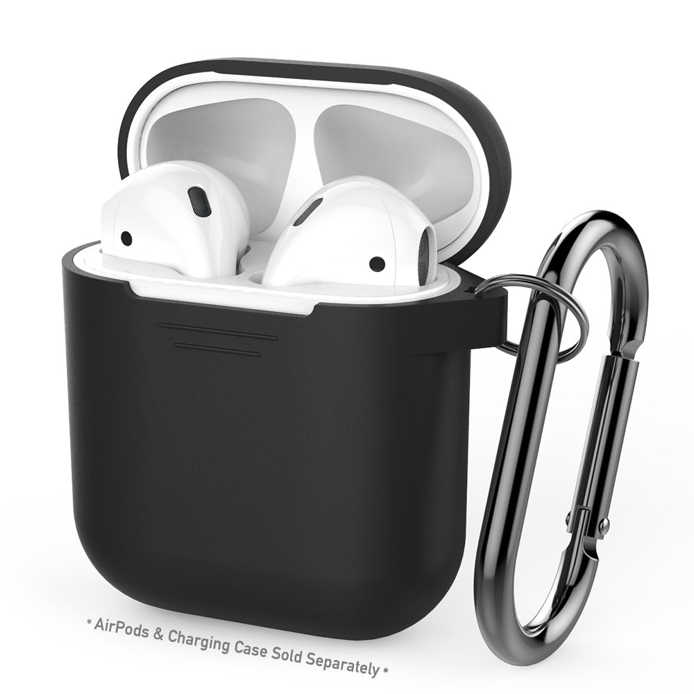 AirPods Case AhaStyle Full Protective Cover Portable Silicone Skin for Apple AirPods (Black)