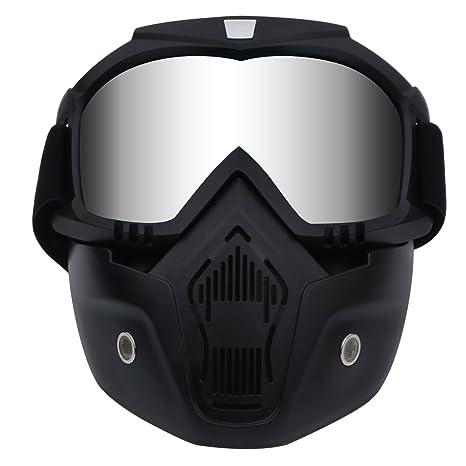 Casco de motocicleta con gafas extraíbles, lentes antivaho, filtro en la boca