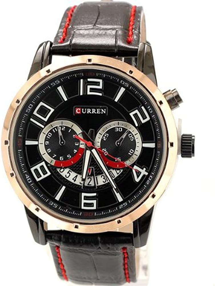 Gullor Curren Fashion Watches Men Leather Round Dial Analog Quartz With Date Display Calendar Watches