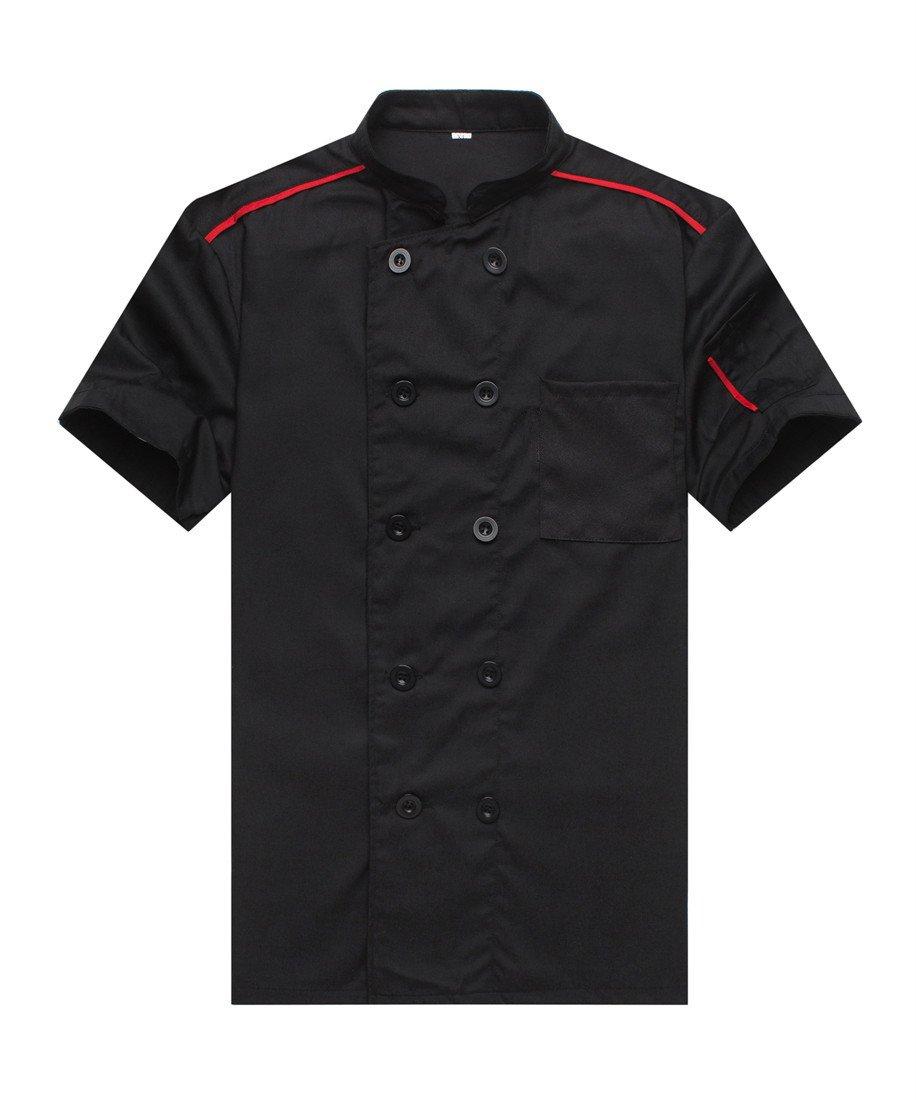 Chef Jackets Waiter Coat Short Sleeves Size M (Label:XL) Black