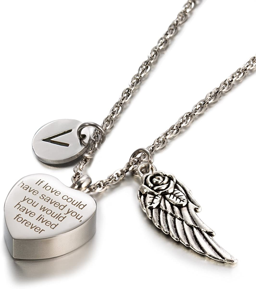 Glimkis Cremation Jewelry U Wouldve Lived Forever Ash Locket Memorial Necklace /& Intial