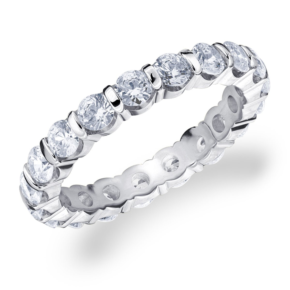 2 CT Bar Set Lab Grown Diamond Eternity Ring in 14K White Gold, Sparkling in E-F Color and VS Clarity- Finger Size 7.5