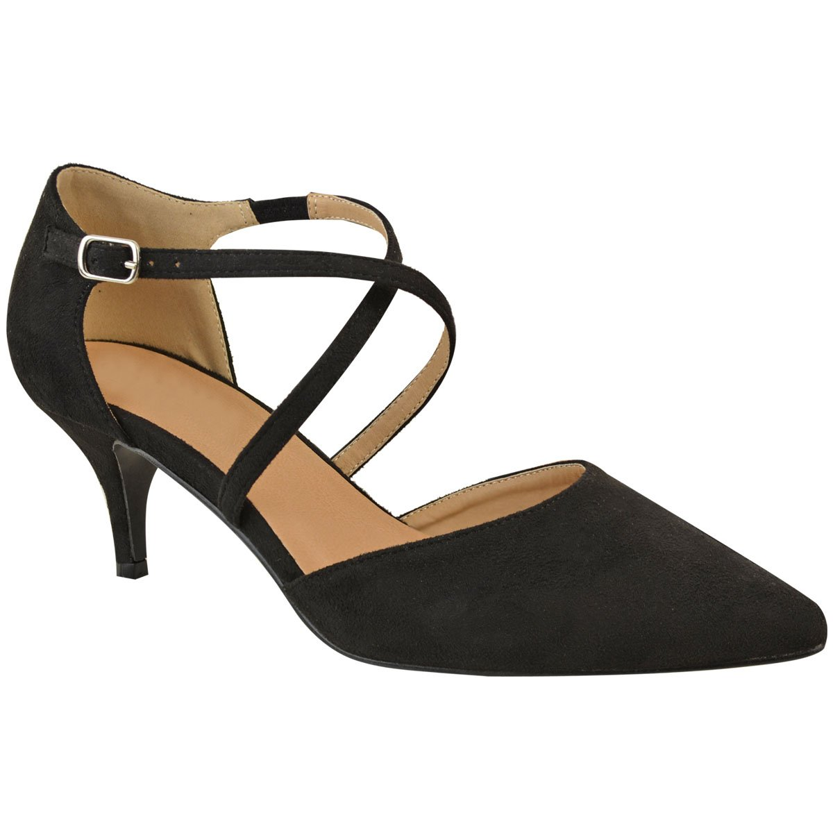 f6069806c953 WOMENS LADIES LOW MID HIGH KITTEN HEEL PUMPS POINTED TOE WORK COURT SHOES  SIZE Fashion Thirsty