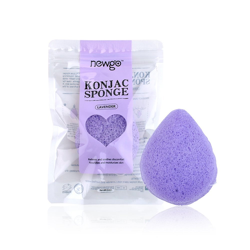 Konjac Sponge Natual Face Cleaning Sponge for Sensitive or Acne Prone Skin for Exfoliating, Safe for All Skin Types, Individually Wrapped - Aloe NEWGO KS006