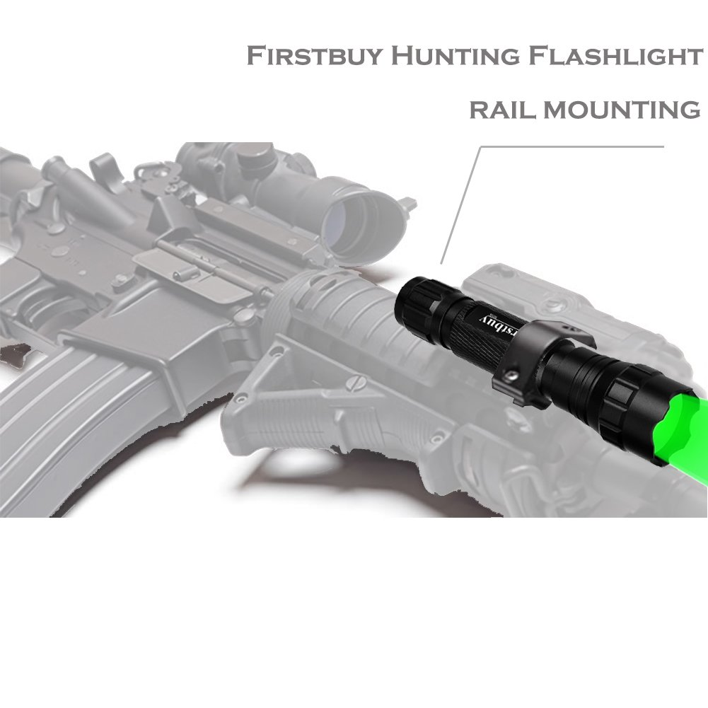LENPOW Green Hunting Light Portable Torch Lantern Handeld Lamp Water Resistant Tactical LED Flashlight with Barrel and Rail Mount, Remote Pressure Switch, 18650 Rechargeable Battery, Battery Charger