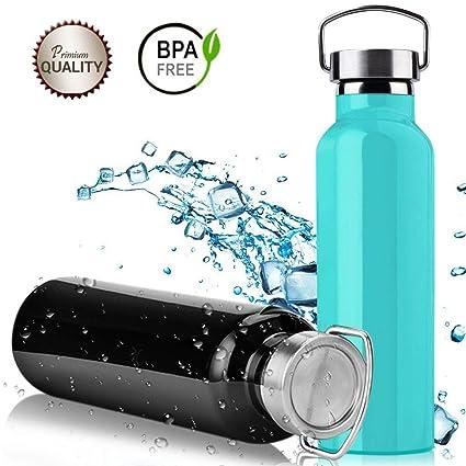 DAMIGRAM Botella de Agua Aislada al Vacío de Acero Inoxidable, 600ml Pared Doble Deportiva Botella,Sin BPA para Correr, Gimnasio, Yoga, Ciclismo
