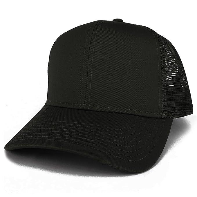 Armycrew XXL Oversize High Crown Adjustable Plain Mesh Back Trucker  Baseball Cap - Black 7ea6867272b