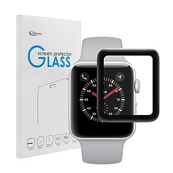 Protector de Pantalla para Apple Watch Series 3 42mm, Siuber 9H Cobertura Completa Protector de