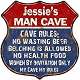Jimmie's Man Cave Rules Red White Blue Shield Sign Home Gift 6x18 Sign S123591