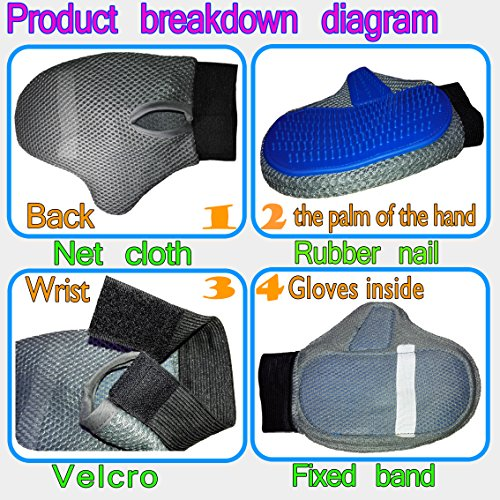 QUIET 100% Quality Assurance,Pet Grooming Massage Bathing Gloves,Bonus & Portable Pet Bowl,Dogs &Cats& Bunnies &Horses Mitt
