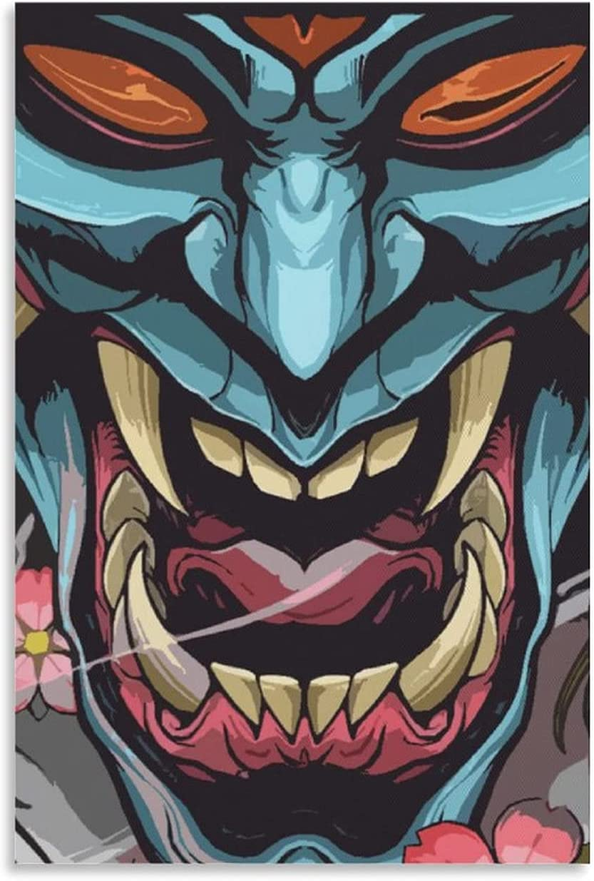 Tattoo Shop Decorationposters Tattoo Art Tattoo Oni Mask Japanese Art Posters Canvas Poster Wall Art Decor Print Picture Paintings for Living Room Bedroom Decoration 24×36inch(60×90cm) Unframe-style1