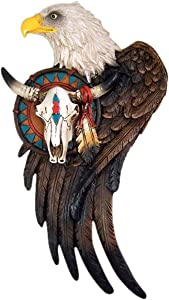 Wowser Cast Resin Bald Eagle with Cow Skull Hanging Wall Decoration, 11 1/2 Inch