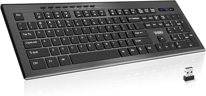 TNBIU Wireless Keyboard, 2.4G Ergonomic Wireless Computer Keyboard, Full Size PC Keyboard with Numeric Keypad for Laptop/Desktop/Surface/Chromebook/Notebook