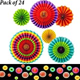 """Adorox Set of 24 Vibrant Bright Colors Hanging Paper Fans Rosettes Party Decoration for Holidays 8"""" 12"""" 16"""" Various Sizes Fiesta"""