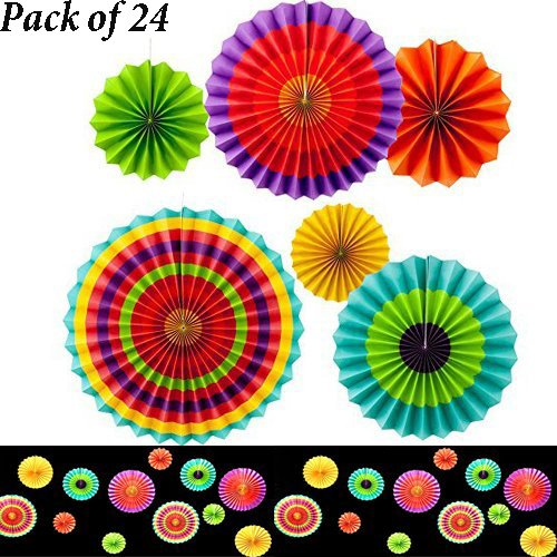 Adorox Set of 24 Vibrant Bright Colors Hanging Paper Fans Ro