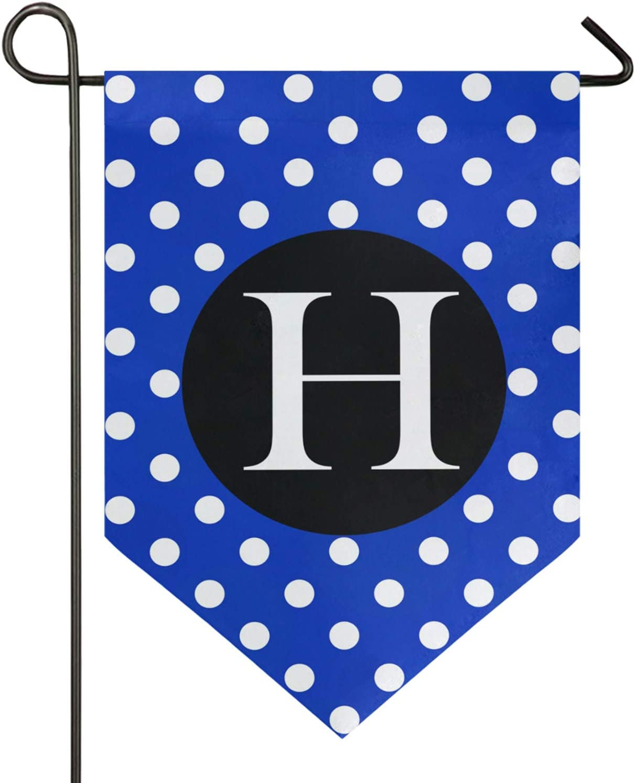 Oarencol Monogram Letter H Blue White Polka Dot Pattern Garden Flag Double Sided Home Yard Decor Banner Outdoor 12.5 x 18 Inch