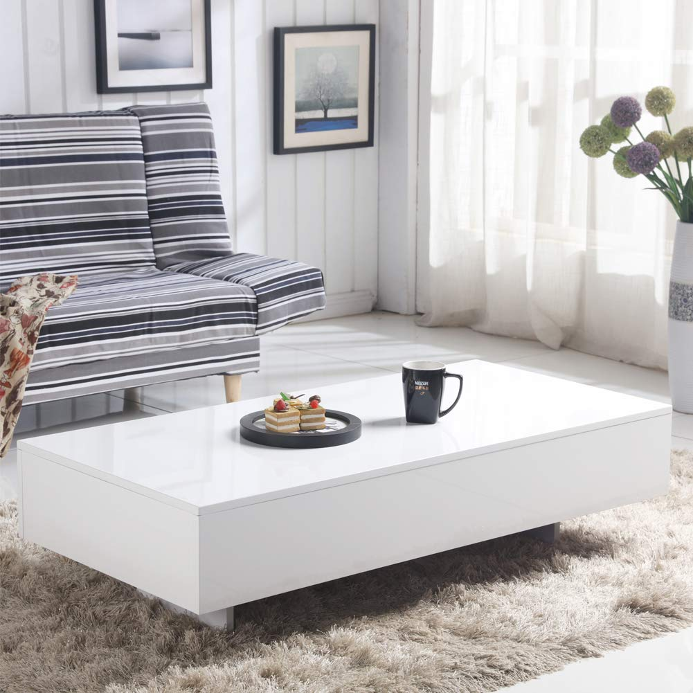 Side Table Modern Design.Goldfan White High Gloss Coffee Table Modern Design Rectangle Sofa Side End Tables For Living Room Office Furniture White