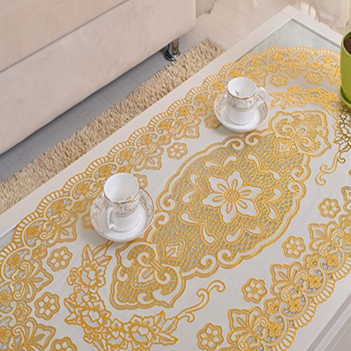 Ustide Vinyl Tablecloth Eco-friendly PVC Table Cloth Golden Waterproof Table Overlays Oval Table Runner (Oval Tea Table)