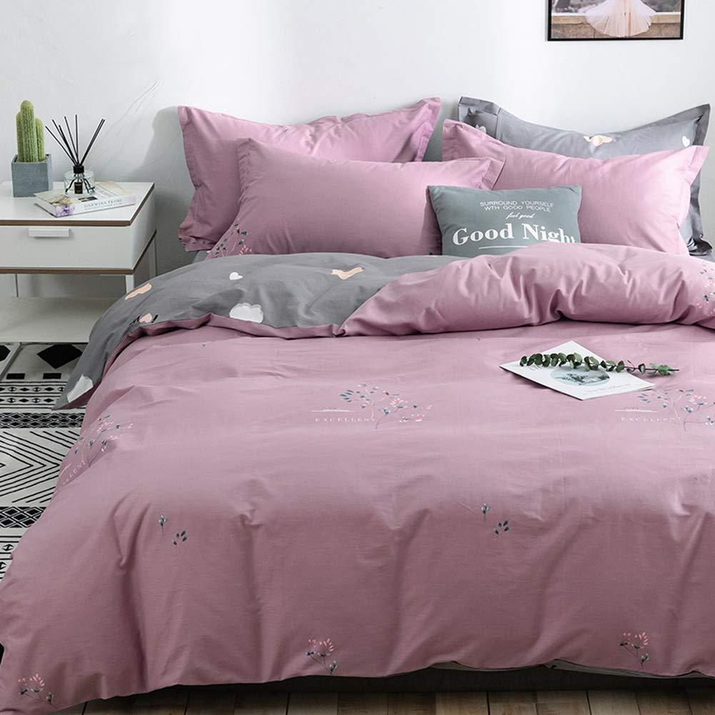 寝具4ピースシートセットプレミアムソフトベッドシートセット、通気性、羽毛布団カバーセット-1フィットシート、1ベッドシートと2枕カバー24パターン (パターン : 24, サイズさいず : King) B07SC22BWR