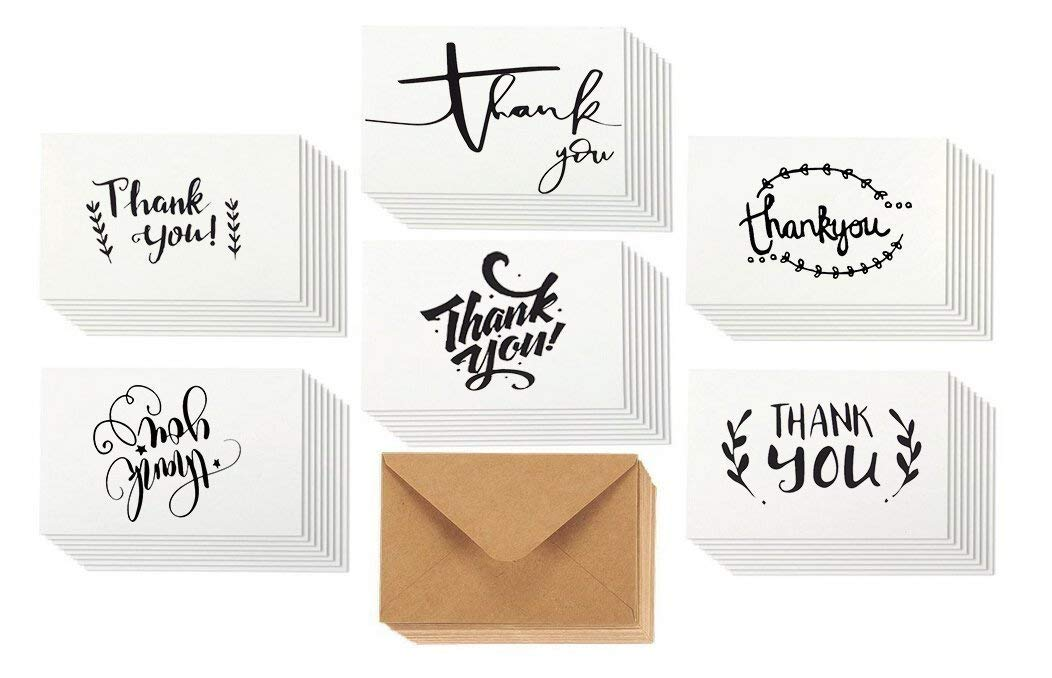 Thank You Cards with Glue Envelopes 36-Count, Kraft Paper Envelopes - Blank on The Inside, Handwritten Style - 4 x 6 Inches - Great for Business, Wedding, Graduation, Baby/Bridal Shower, Professional by SJ Products (Image #1)