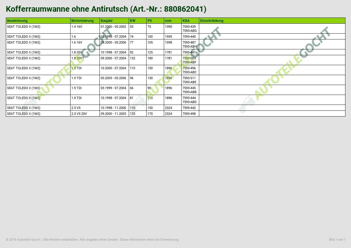2006 bac de coffre anti-d/érapant et sans imperfections Seat toledo iI 2 iI 1 m 1999