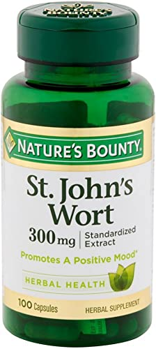 Nature s Bounty St. John s Wort Pills and Herbal Health Supplement, Promotes a Positive Mood, 300mg, 100 Capsules, 2 Pack