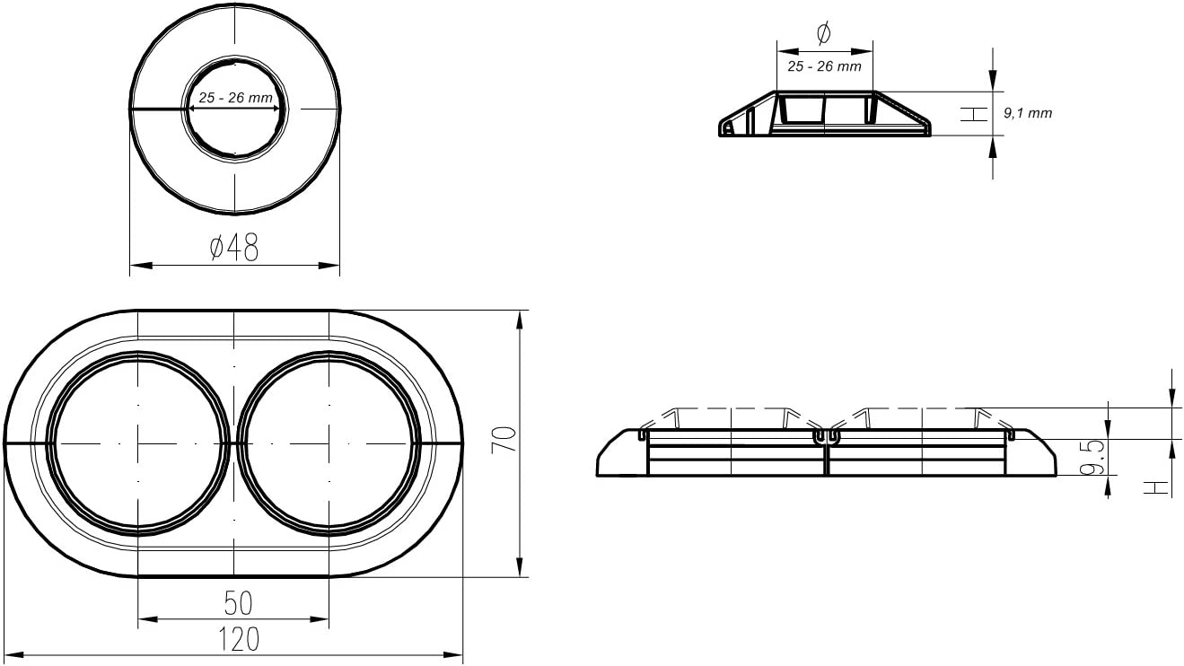 cubierta para tubos de radiador variable para di/ámetro de 8 4 embellecedores dobles para radiadores montaje r/ápido 18 mm cubierta de pl/ástico