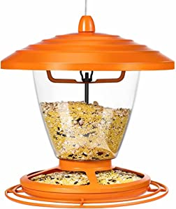 Wild Bird Feeder for Outdoors Hanging, 2.2lb Metal Bird Feeder for Outside, No Spill Bird Feeder for Cardinals, Blue Jay and More Birds, Compatible with All Food