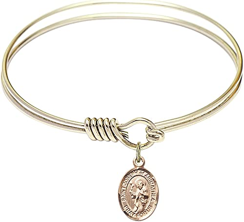 Mary Magdalene charm. 7 1//2 inch Round Double Loop Bangle Bracelet with a St