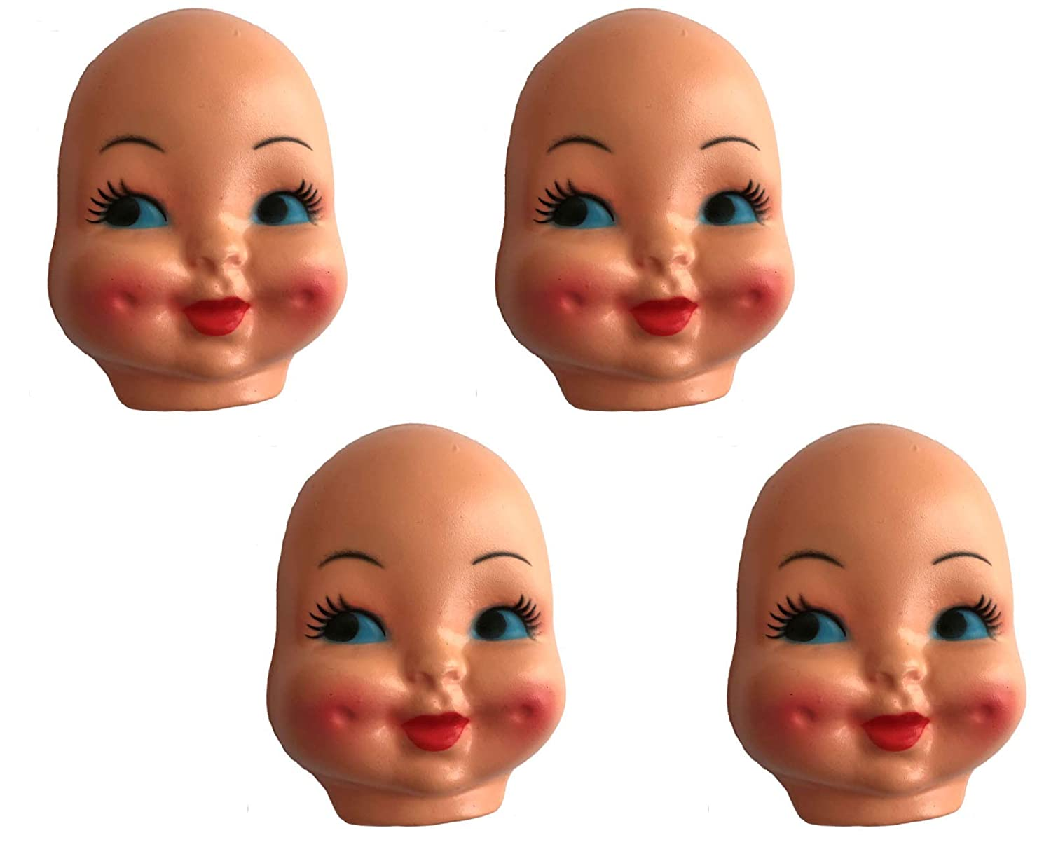 Blue-Eyed Girl with Dimple Cheeks Celluloid Plastic Doll Face Mask Pack of 4
