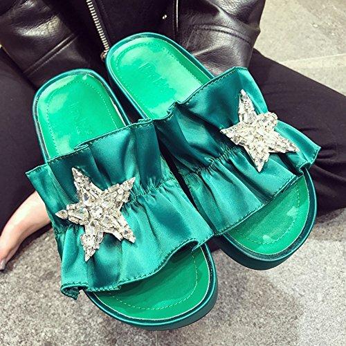 Las Señoras Eu38 Lixiong Verde 5 Sandalias zapatos cn38 Tamaño Grueso Moda Salvajes color uk5 Verano Del Portátil De Verde rUXXIfq