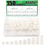 Keadic 150 Pieces Nylon Round Spacer Standoffs Assortment Kit, OD 11mm and ID 6.2mm, Length 3mm 4mm 5mm 8mm 10mm 12mm 15mm 18mm 20mm 25mm for M6 Screws
