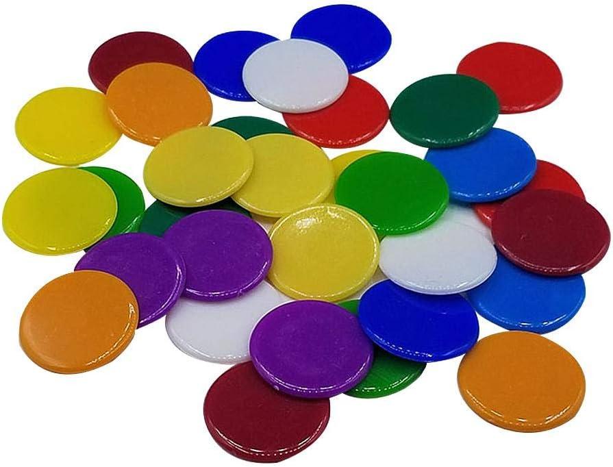 1.9cm Jetons De Jeux Opaque Compteurs en Plastique pour Compter Ou Marquer 9 Couleurs Eruditter 100pcs Jetons De Bingo en Plastique