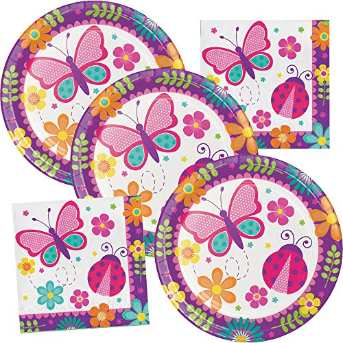 Butterfly Garden Happy Birthday Party Supplies Plate and Napkin Set Serves up to 16 Guests (Napkin Set Up)
