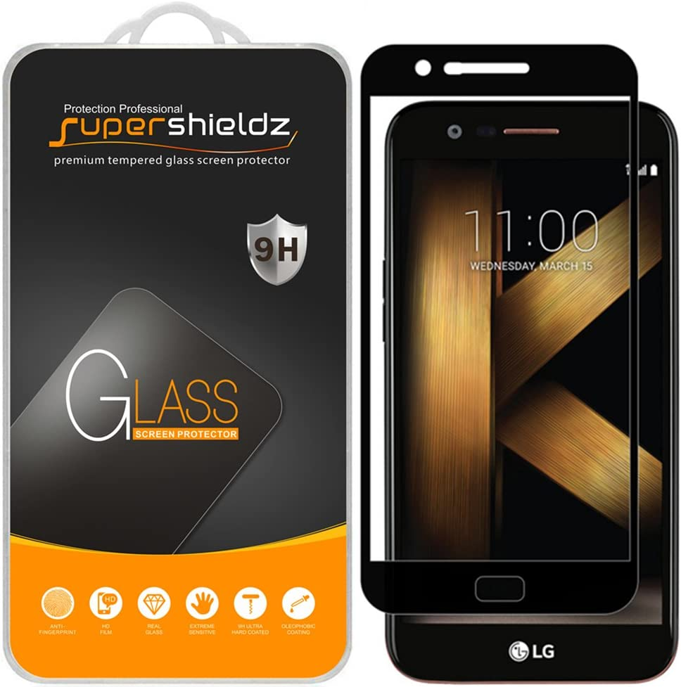 (2 Pack) Supershieldz for LG K20 Plus Tempered Glass Screen Protector, (Full Screen Coverage) Anti Scratch, Bubble Free (Black)