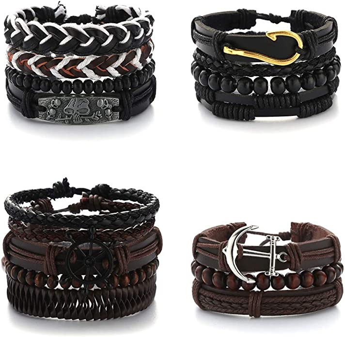 Men/'s leather bracelet multi strand bracelet men/'s bracelet braided leather bracelet vintage brown leather bracelet hook clasp RLB4-20-02