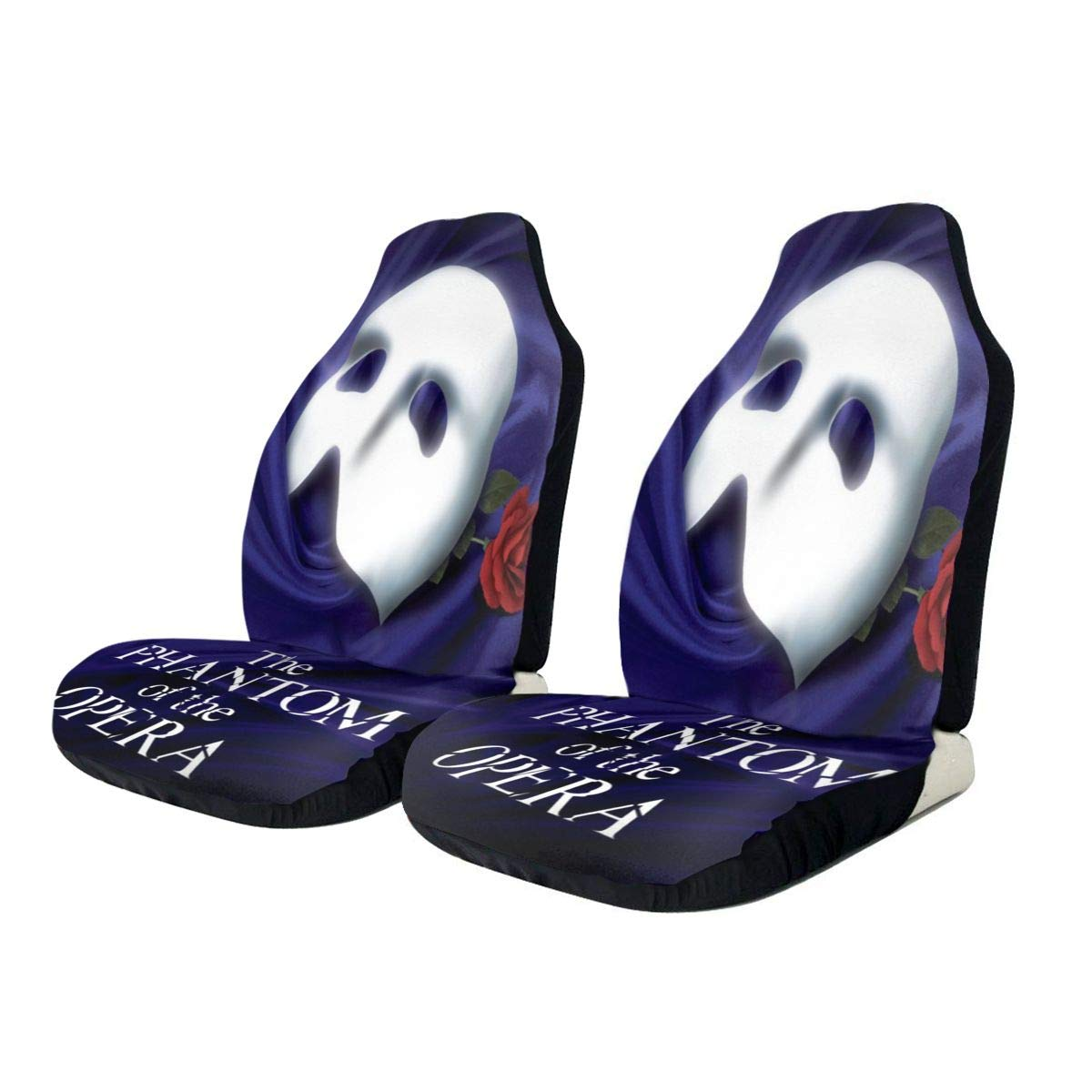 Midbeauty Phantom of The Opera Rose Front Car Seat Covers Set Vehicle Seat Protector Car Mat Covers