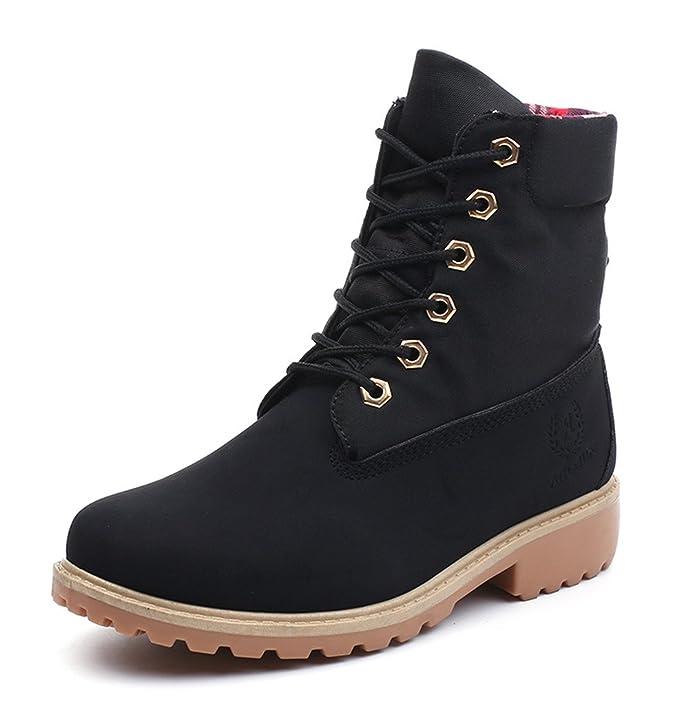 Minetom Mujer Otoño Invierno Zapatos Botines Calentar Botas De Nieve Zapatos Botas de Trabajo Martin Boots Zapatos de Cordones Negro EU 40: Amazon.es: Ropa ...