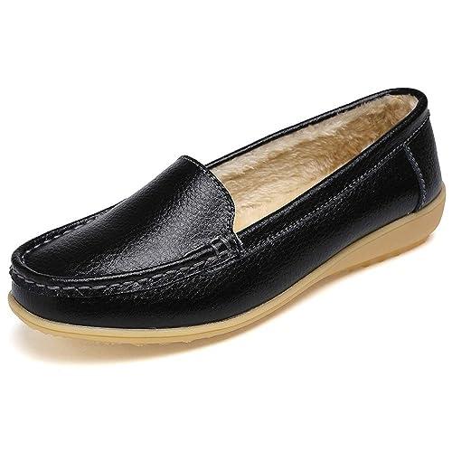 K&T Zapatos de Conducción Mujer Cuero Mocasines más Terciopelo Planos Loafers Confort Zapatos del Barco Al
