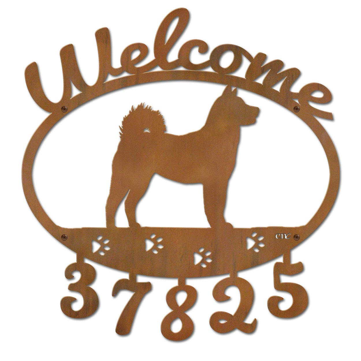 Cold Nose Creations 22in Shiba Inu Dog Metal Custom Personalized Welcome Address Numbers Sign