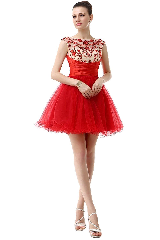 Red BessWedding Women's Ball Scoop Beads Short Tulle Party Evening Dress Rhine Stone