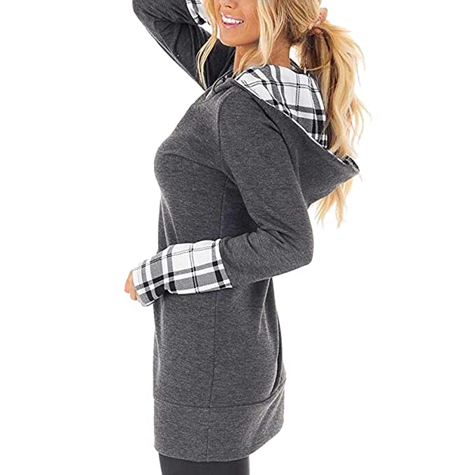 Amazon.com: Womens Turtleneck Tunic Plaid Shirts Long Sleeve Pullover Sweatshirt: Clothing