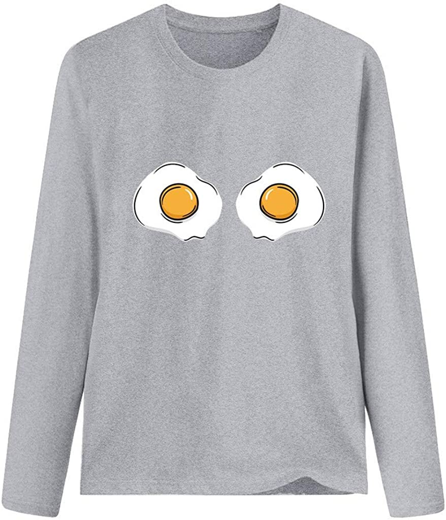 Grey,Medium WUAI-Women Graphic T-Shirts Plus Size Poached Egg Novelty Long Sleeve Slim Fit Tunic Tops Blouse Plus Size